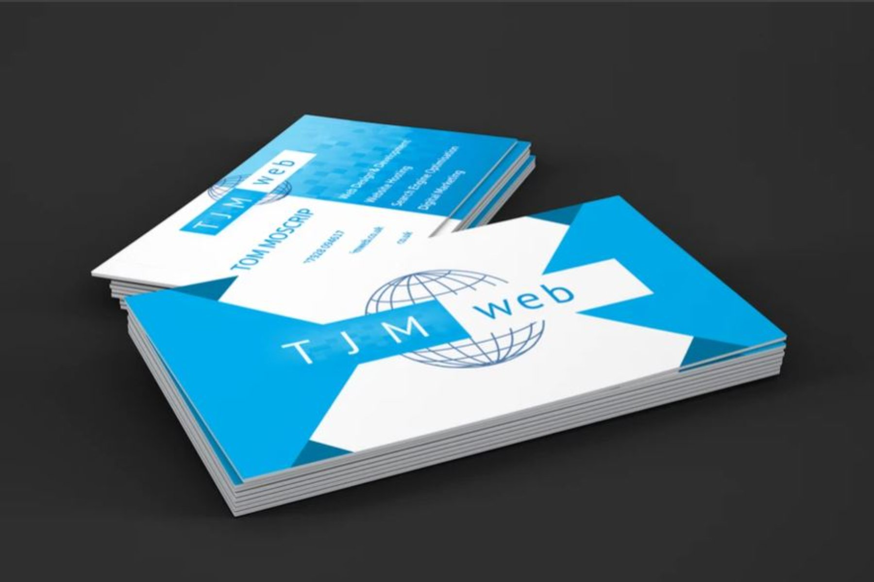 TJM web design business cards produced by Bristol Marketing Company. Creative agency Bristol, UK. Marketing Company Bristol.